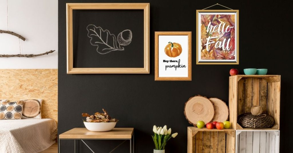 bedroom wall with free autumn prints. hey there pumpkin. hello fall.